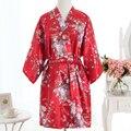 Vintage Señoras del Satén ropa de Dormir Camisón Corto Vestido de Las Mujeres Chinas Robe Vestido Vintage Yukata Kimono Salón Ropa de Dormir Pijamas