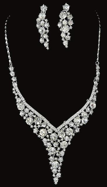 India Bridal Wedding Jewelry Sets Topaz Color Czech Stone Necklace