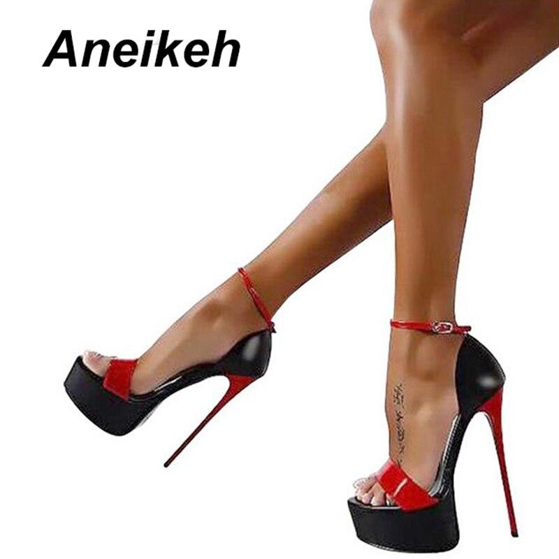 Aneikeh 2018 Fashion Peep Toe High-heeled Sandals Sexy 16CM High Heels  Buckle Strap Nightclub Party Shoes Big Size 40 Black