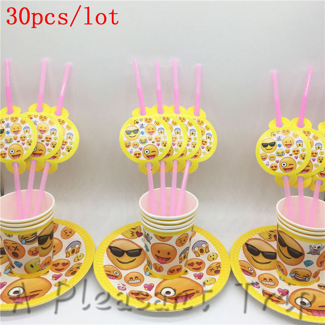 30pcs Lot Theme Emoji 10pcs Paper Cup Board Straw Smiley Face Birthday Party Decoration Set