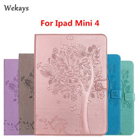 Wekays For IPad Mini 4 Case Luxury Cartoon Cat And Tree Leather Flip Case For Apple
