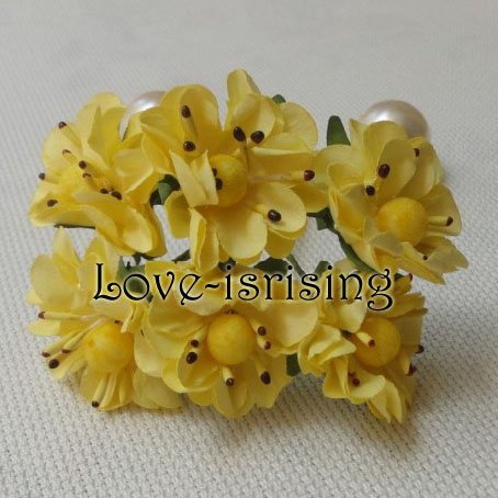 Free Shipping New 144pcs 3cm Yellow Handmade Mini Paper Flower For