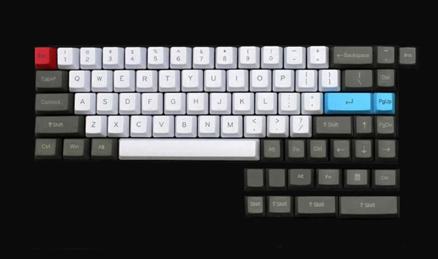 NPKC OEM Keycaps PBT White,Blue,Dark Gray for Cherry MX Switches of  Tada68,XD60,XD64,GK64,GH60,DZ60,FC660 Mechanical Keyboards