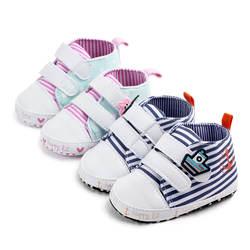 2019 новорожденных обувь для маленьких мальчиков и девочек весна синий розовый полосатый младенческой прекрасный Нескользящие Первые