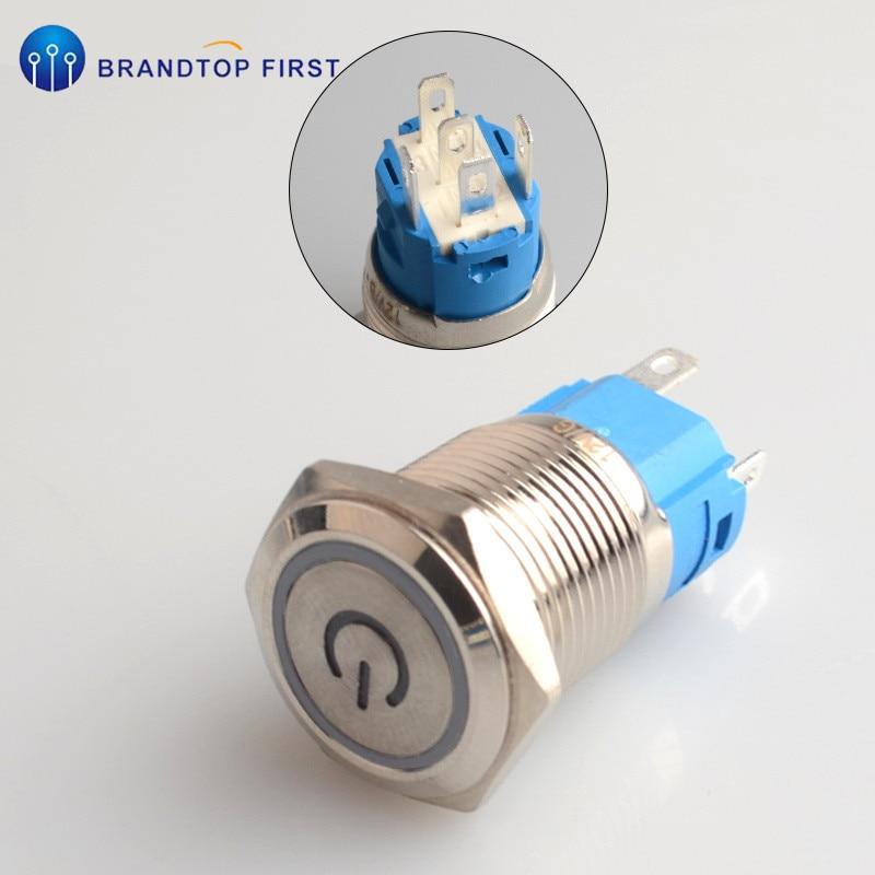 1 шт. 16 мм Мгновенный металлический кольцевой кнопочный переключатель светодиодный самоблокирующийся/самоблокирующийся водонепроницаемый двигатель Автомобильная кольцевая кнопка двери - Цвет: Белый