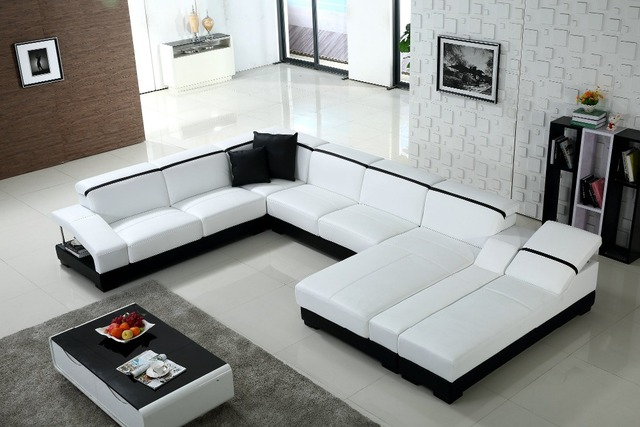 Lizz White Modular Lounge Suit U Shaped Sofa Leather With 2 Chaises