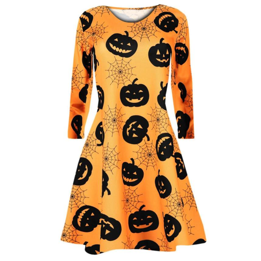 Novelty & Special Use Scary Costumes Fast Sending Girl Womens Long Sleeve Pumpkins Spider Halloween Evening Prom Costume Swing Dress Party Props Drop Shipping C816