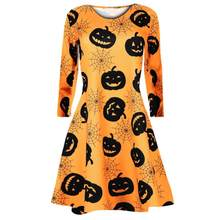 Fast Sending Girl Women Long Sleeve Pumpkins Skull Halloween Evening Prom Costume Swing Dress Party Props Drop Shipping c816(China)
