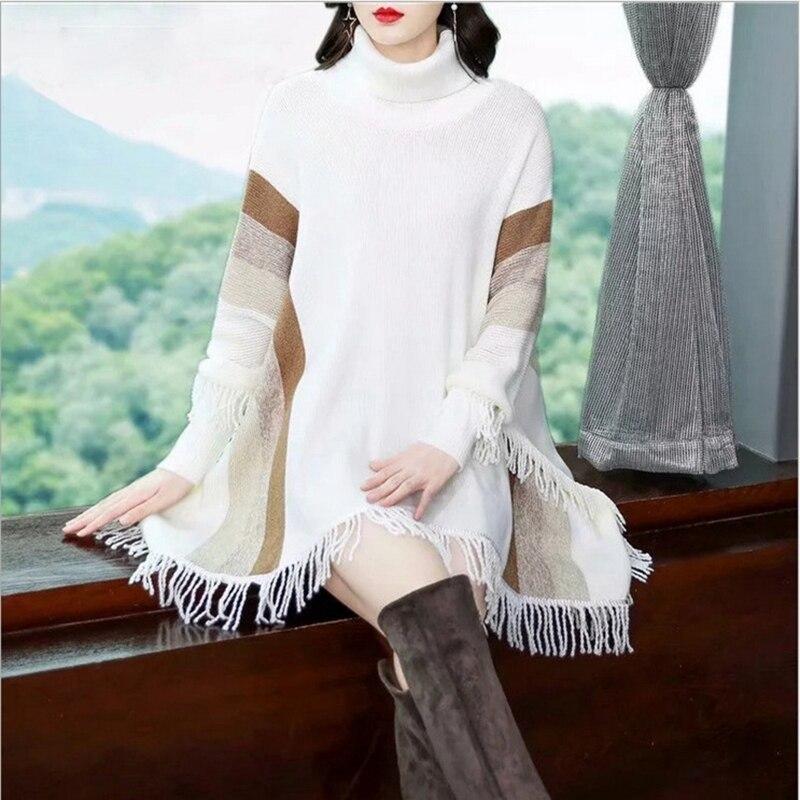 Tricoté Outwear Mode Chandail Poncho Et black Nouveau red Manteau Lady Chauve Gland Rayé Pull pink Haut Printemps Manches souris White Femmes Col D'hiver w0X8nOPk
