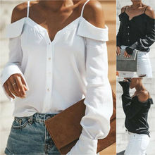 Women's Cold Off Shoulder Tops Shirt Long Sleeve Strappy Summer Blouse cold shoulder bell sleeve backless blouse
