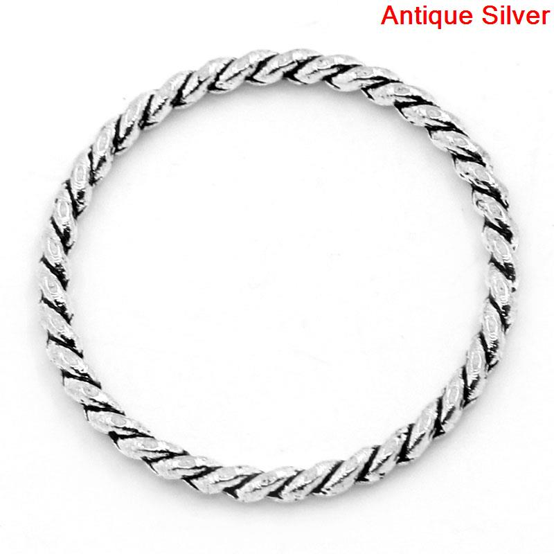 DoreenBeads Zinc Metal Alloy Closed Soldered Jump Rings Round Antique Silver Stripe Pattern 26mm(1