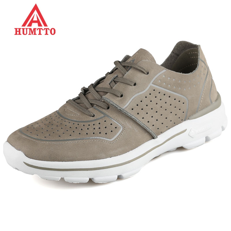 HUMTTO Breathable Men Running Shoes Summer Genuine Leather Man Sneakers Light Lace up DMX Cushioning Male