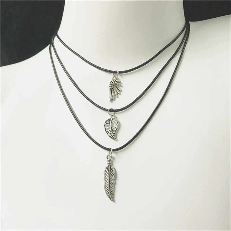 Vintage Punk Color plata collar único huecos aleación colgante collar para hombre mujer moda accesorios para el cuello joyería de moda