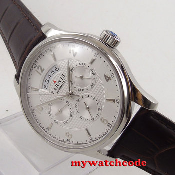 цена 42mm parnis withe dial Sapphire Glass miyota 9100 Automatic mens Watch 666B онлайн в 2017 году