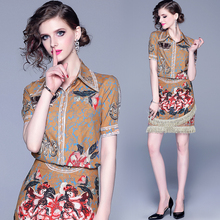 New 2019 Summer Fashion Designer Runway Suit Set Womens Short Sleeve Print Top and Casual Tassel Mini Skirts Two Piece