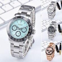 цена Parnis Quartz Chronograph Watch Men Top Brand Luxury Pilot Business Waterproof Sapphire Crystal Wrist Watch Relogio Masculino онлайн в 2017 году
