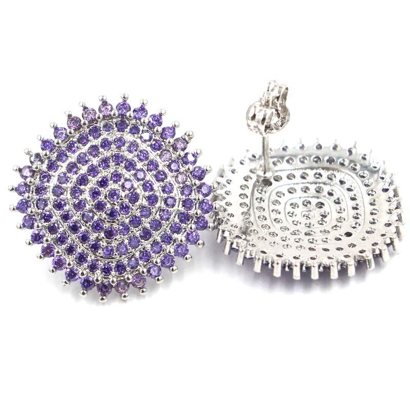 Romantikus lila Ametiszt női esküvői ezüst fülbevaló 21x21mm