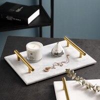 FREELOVE Marble Stone Serving Tray, Rectangle for Kitchen Home Bathroom Decor Organizer Vanity Tray Decorative Trays