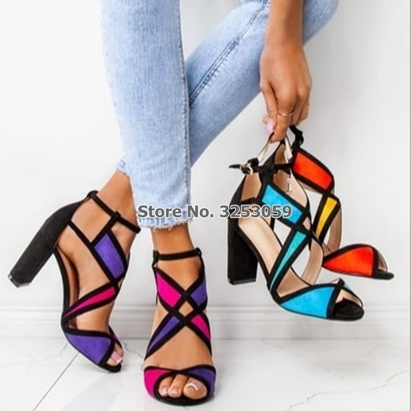 ALMUDENA Designer Suede Color Patchwork Chunky Heel Sandals Cut-out Pink Purple Wedding Shoes Gladiator Pumps Banquet Shoes