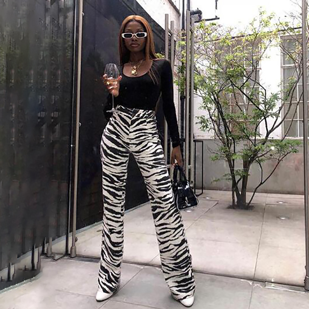 New Zebra Striped High Waist Casual Loose Trousers For Women 2019 Street Summer Full Length Pants