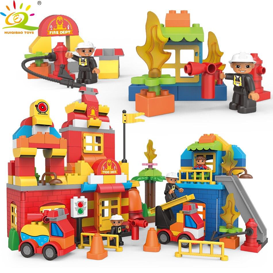 181 pièces caserne de pompiers gros blocs de construction Compatible Duploed ville pompiers briques figrues jouets éducatifs pour enfants