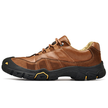 High Quality Men's Leather Outdoor Hiking Trekking Sneakers Shoes For Men Climbing Mountain Hunting Shoes Sneakers Man high quality mens sports canvas outdoor hiking shoes sneakers for men sport wearable climbing mountain trekking shoes man