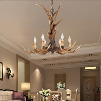 Europe Country 6 Heads Chandelier American Retro Lamps Fixture Resin Deer Horn Antler Lampshade Decoration E14