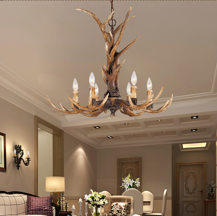 Europe Country 6 Heads Chandelier American Retro Lamps Fixture Resin Deer Horn Antler Lampshade Decoration E14 110 240V