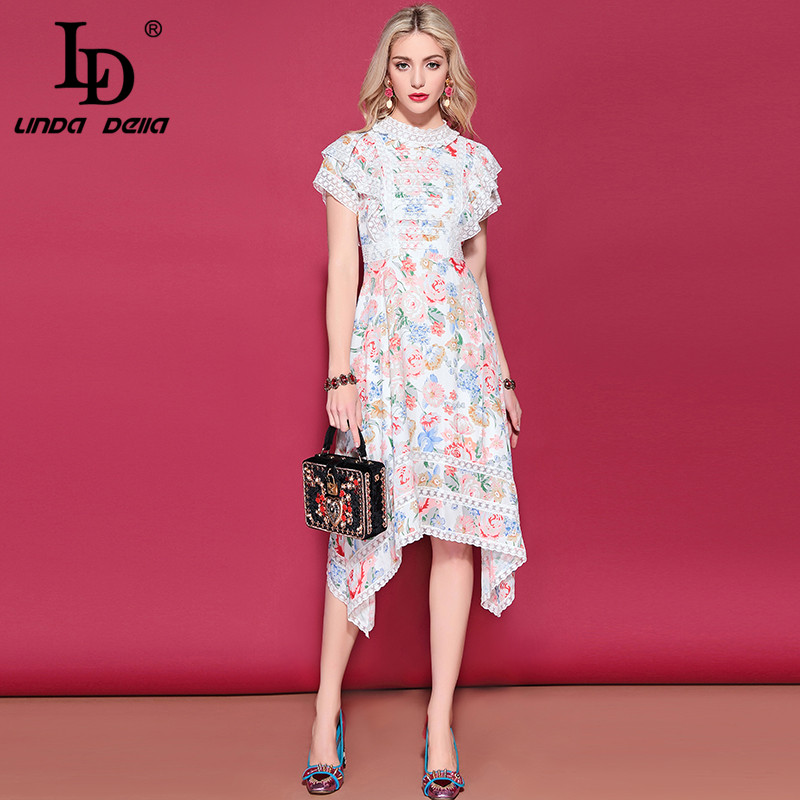 LD LINDA DELLA Fashion Runway Casual Holiday Summer Dress Women s Elegant Floral Print Lace Patchwork