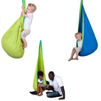 Kid Hammock Swing Hanging Seat Child Pod Chair Nest Nook Tent Blue Green Fabric