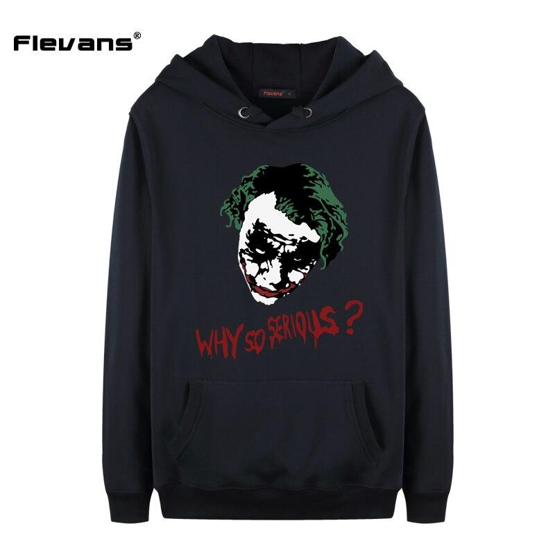 Flevans Autumn Winter Fashion Men's Sweatshirts Batman The Joker Why So Serious Printed Hoodie Hip Hop Hoodies Streetwear