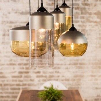 Nordic retro industrial wind glass chandelier living room restaurant coffee shop creative modern simple single head Chandelier