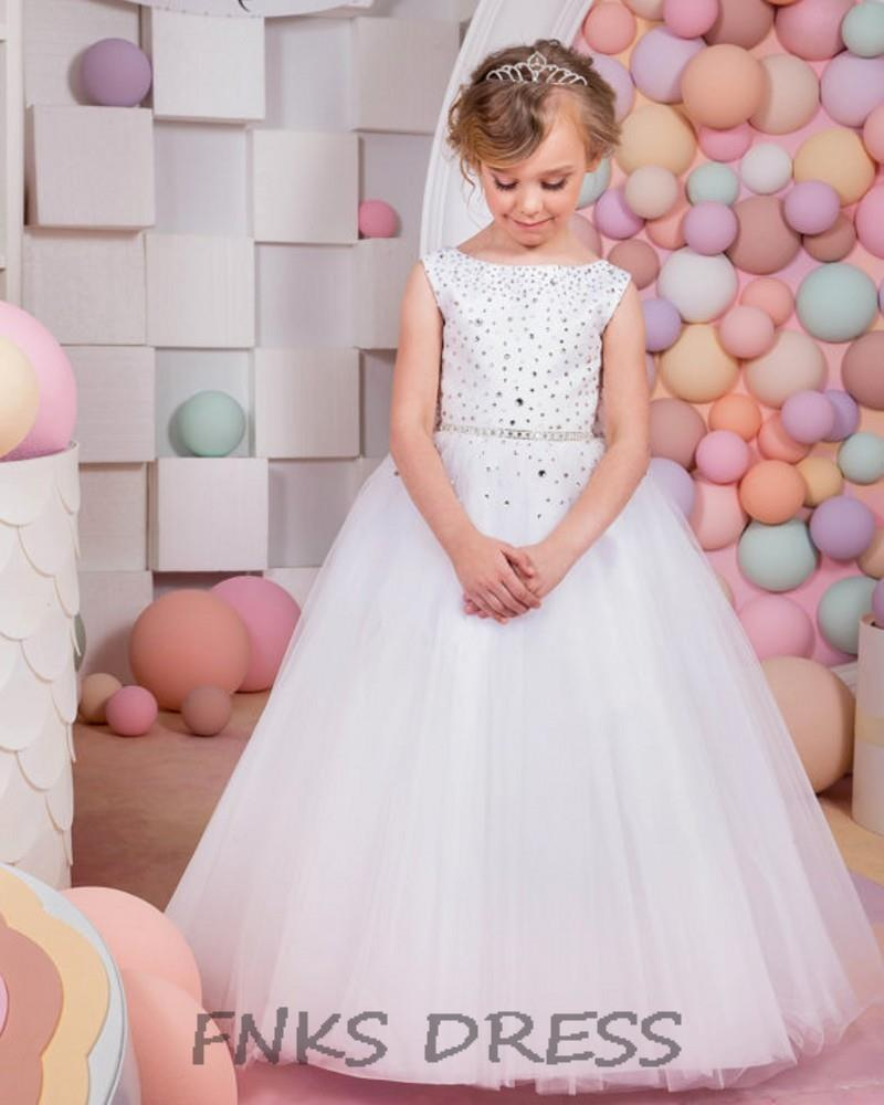 Elegant Flower Girl Dress Ball Gown Holy First Communion Dresses for Little  Girls Satin Bow Girls Party Pageant Dresses WD22-in Flower Girl Dresses  from ... d7ec965301fe