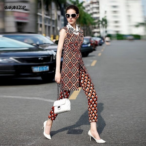 Celebrity Runway Designer Dress Women s High Quality Elegant Sleeveless Turn Down Collar Beading Geometry Printed