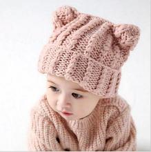 Infant Baby Girls Knit Crochet hats Newborn Kids Girls Fashion knitting Caps 2017 Babies Autumn Winter warm cap