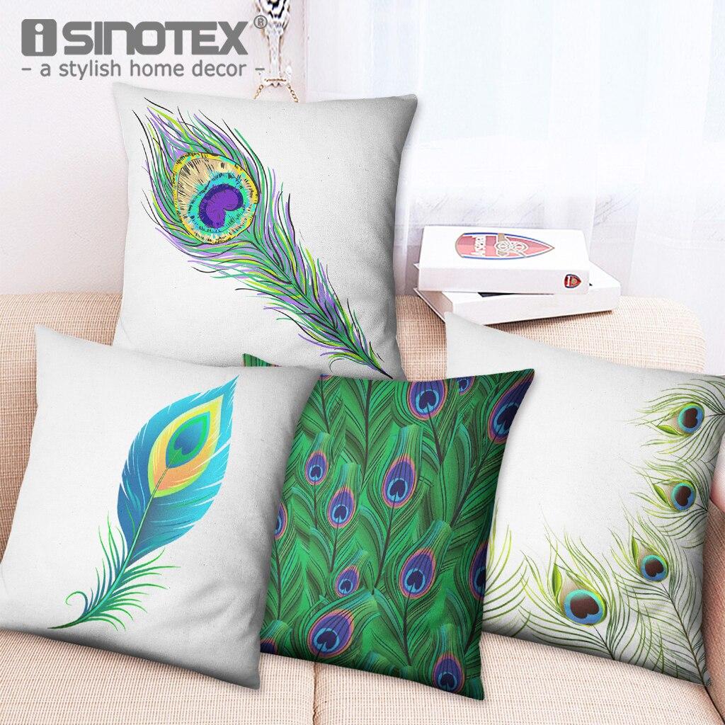 Colorful Feather Decorative Cushion Cover Fashion Peacock Pattern Cotton Linen Throw Pillow Case for Home Sofa Car Pillow Decor