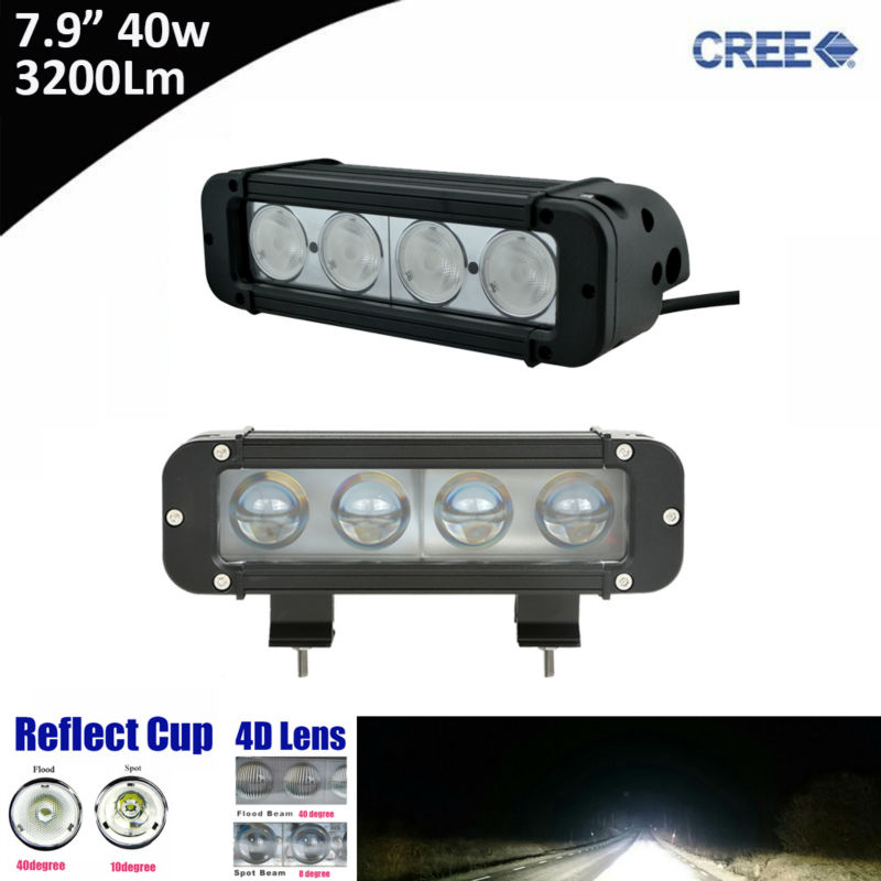 2x 40w 8inch Single Row Led Light Bar with Cree 10w High Light Output White Flood Spot Beam Patter for ATV UTV Motocycle 12v 24v atv recovery strap 1 inch x 15 ft single ply