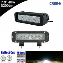 2x 40w 8inch Single Row Led Light Bar with Cree 10w High Light Output White Flood Spot Beam Patter for ATV UTV Motocycle 12v 24v(China)