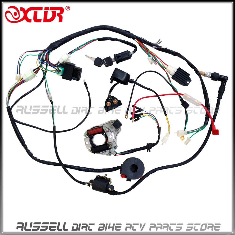 Atv quad wiring harness 50cc 70cc 110cc 125cc ignition coil cdi rh aliexpress
