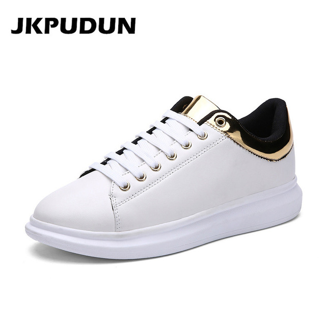 bbb3ee6618 JKPUDUN Italian Mens Shoes Casual Luxury 2017 Designer Fashion Creepers  Shoes Men High Quality White Platform
