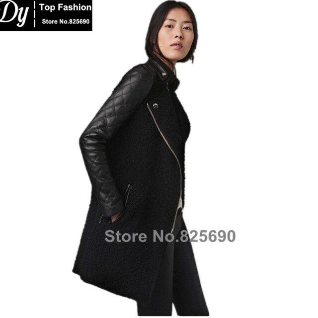 Мода 2017 новый дизайн женщин шерсти ягненка шить Девушки с длинным рукавом пальто стеганые кожаные пальто
