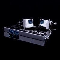 KFLK gemelos clip de corbata de lazo de Alta Calidad pin para regalo de los hombres de las barras de unión de Cristal Azul gemelos clip de corbata set Envío gratis