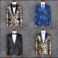 S-4XL New Men's Sequins printing flower pattern suits evening party formal dress singer stage costumes plus size Host clothing