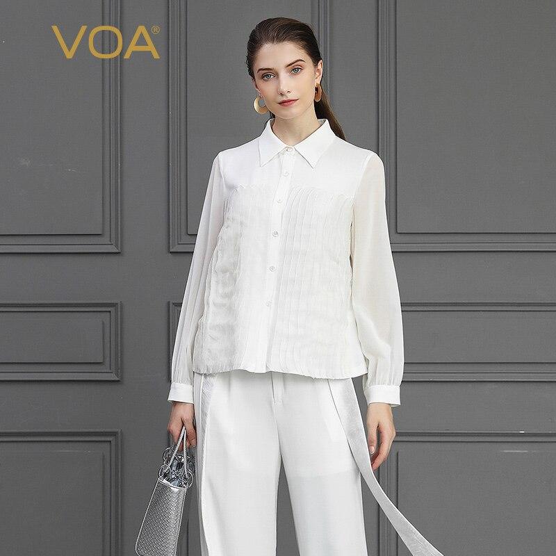 VOA насыщенный Белый 100% шелковая блузка Для женщин женские офисные топы Базовая футболка большой Размеры свободная одежда с длинными рукава