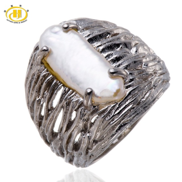 Hutang 100% Natural Freshwater Pearl Solid 925 Sterling Silver Ring Fine Baroque Pearl Jewelry for Women Best Gift