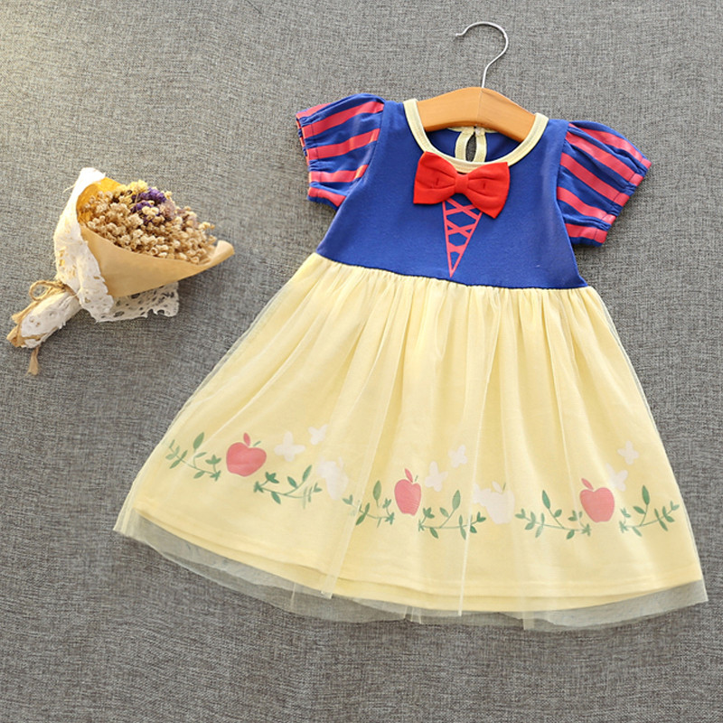 2017 Children's Day Snow White Cosplay Princess Dresses Kids Birthday Party Costume Girl Dresses Clothes Knee Length 2-6 Years