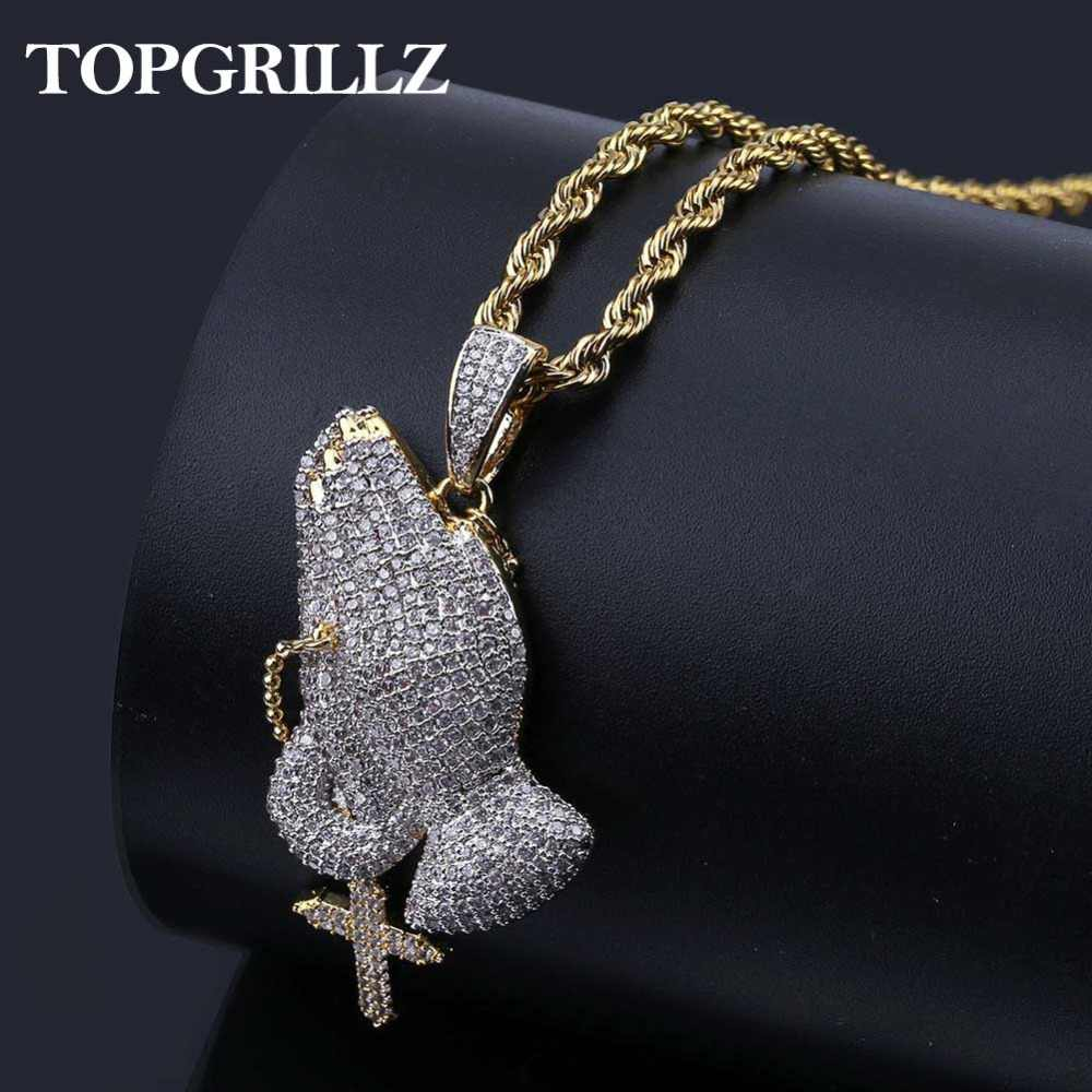 Iced Out Praying Hand Pendant Necklace With Cross Mens/Women Gold Silver Color Hip Hop Charm Jewelry Necklace Chain For Gifts
