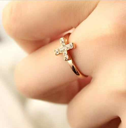 1PCS new arrival Women Fashion Jewelry Cross Finger Ring Gift Fashion Rhinestone Ring