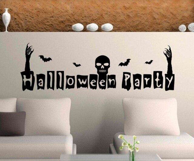 2015 halloween vinyl wall decal halloween party sign spider web skull hand skull bat art wall