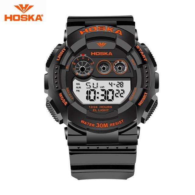 Цифровые Часы Дети HOSKA Марка Открытый Спорт Подсветки СВЕТОДИОДНЫЙ Дисплей Секундомер Плавание 50 м Водонепроницаемый Цифровой Часы H017
